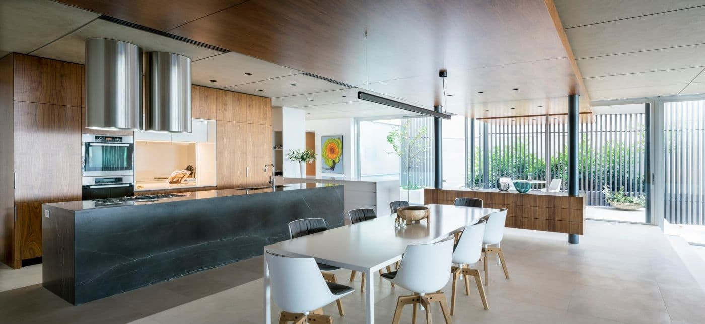 Bay View House kitchen - We are delighted to share the news that our Bay View House kitchen has received high commendation from the judging panel of the 2016 Trends International Design Awards - Australian Kitchens.  Photo by Angus Martin